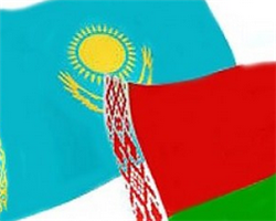 флаги Беларуси и Казахстана