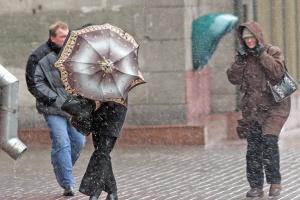 снег, дождь, ветер, люди