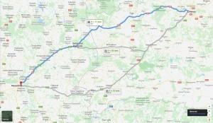 путь в Варшаву, карта